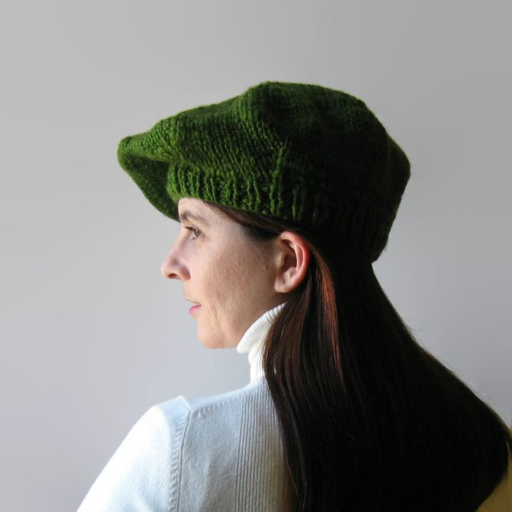 Excited to share the latest addition to my #etsy shop: Beret Green Knitted in Chunky Wool http://etsy.me/2pz7Ns9 #accessories #hat #green #greenwool #woolberet #frenchberet #tamoshanter #womenshat #handknithat