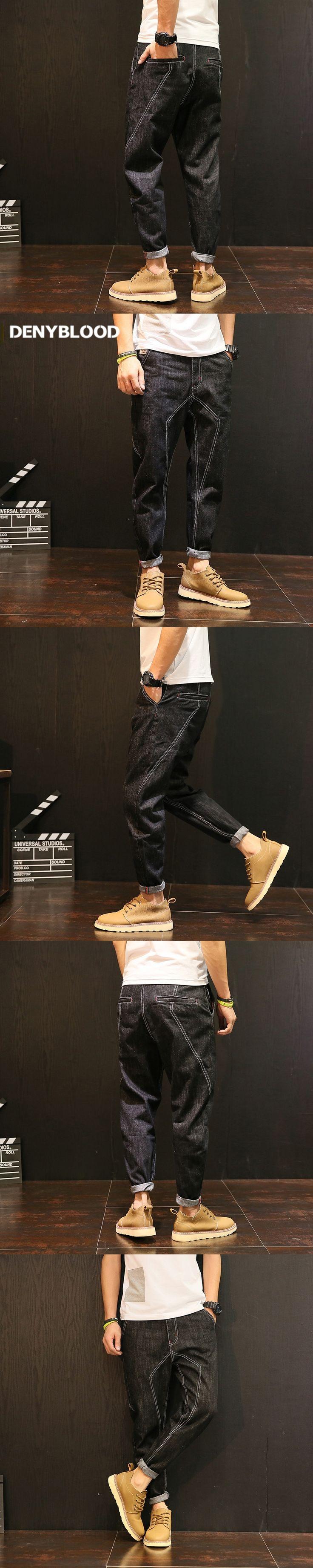 Denyblood Jeans Mens Black Denim Jeans Hip-Pop Harem Pants for Man Mutil Cutting Seams Slim Bottom Loose Fit Casual Pants 5136