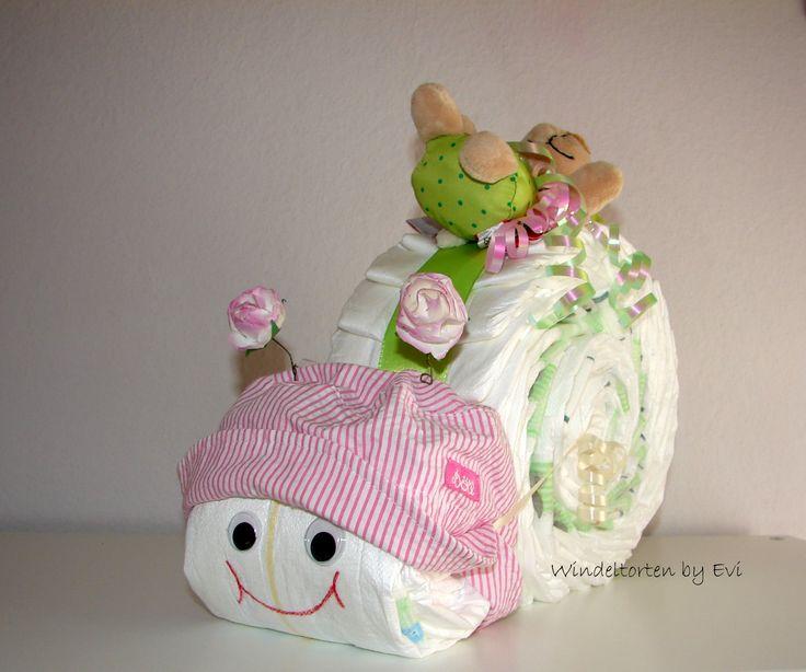 Windelschnecke Anleitung, bastele dieses süße Babygeschenk