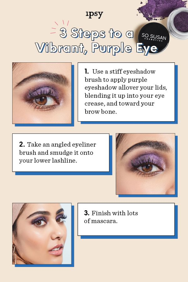 3 Steps To A Vibrant Purple Eye Featuring So Susan Cosmetics Color Trip High Intensity Color Pigment In Mysterious Purple Eyes Eyeliner Brush Makeup