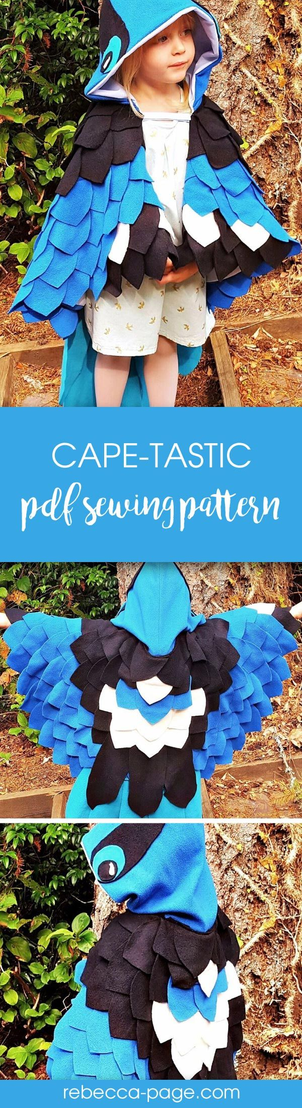 PDF sewing pattern for kids and adults - cape dress up costume.