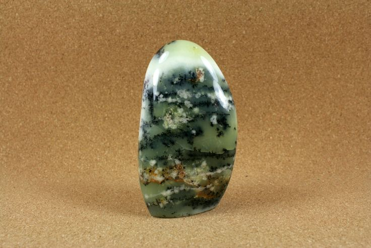 Dendritic Agate Freeform Sculpture Green, White, Black and Yellow Freeform Paperweight Home Decoration, 2.5 in x 4.5 in