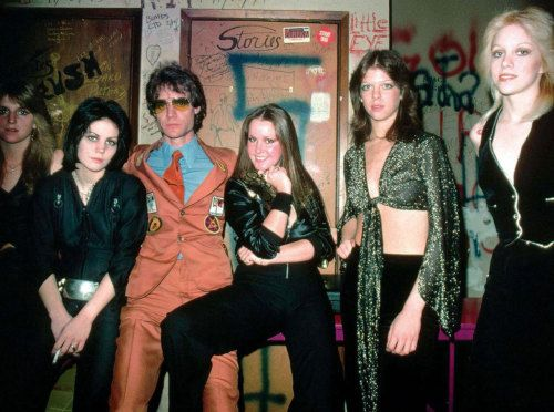 The Runaways after a concert in Whisky A Go-Go with their manager, Kim Fowley.