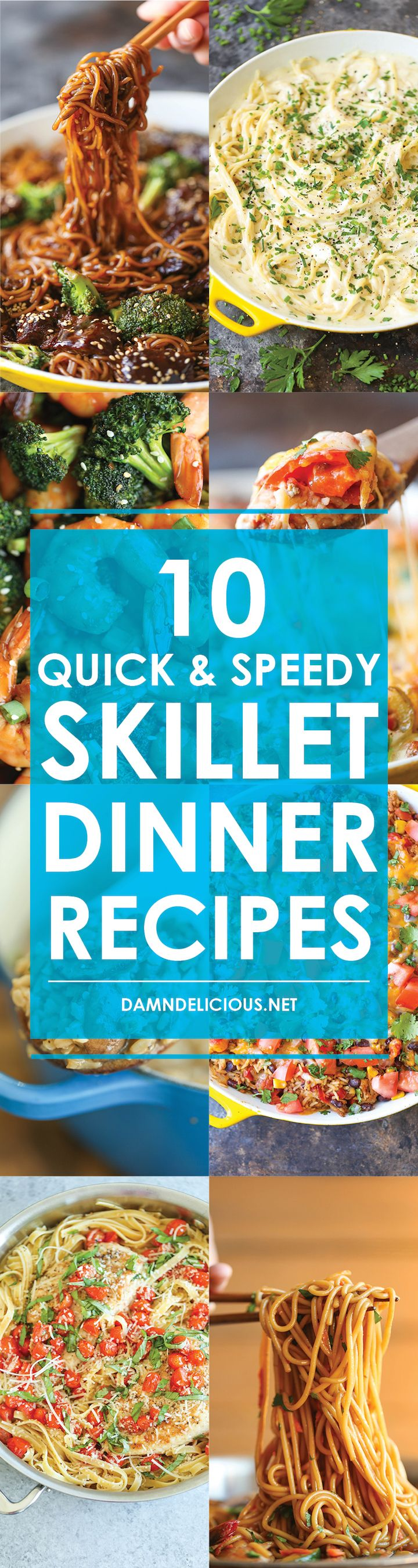 10 Quick and Speedy Skillet Dinners - Easy peasy 30-minute dinners made in a flash for those busy weeknights. Best of all, there's minimal clean up here!