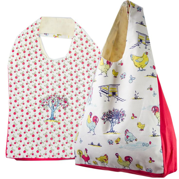 Australian Certified Organic cotton tote bag. Designed in Australia. Printed with water based dyes. Apple print with embroidered apple tree on one side and repeat chicken print on reverse. Design features chickens, eggs and farmyard scene. #chickens #tote #gift #certifiedorganic