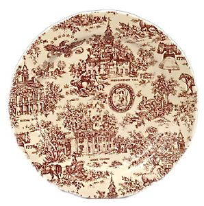 Chintz Dinner Plate Red Toile Americana 10 Inch | eBay