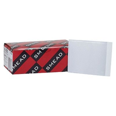"""Smead 4-1/16"""" x 3"""" Self-Adhesive Top Load Poly Pockets- Clear (100 per Box)"""