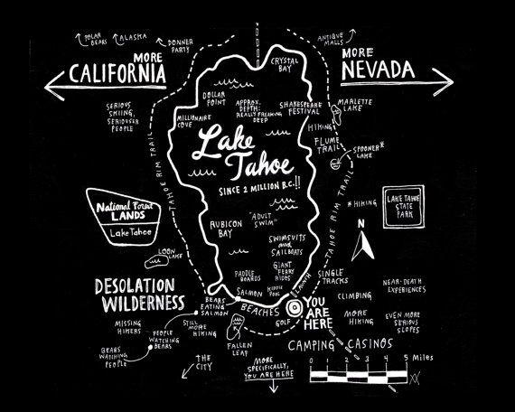 RESERVE  Map of Lake Tahoe 16x20 Print by wendymacnaughton on Etsy, $120.00