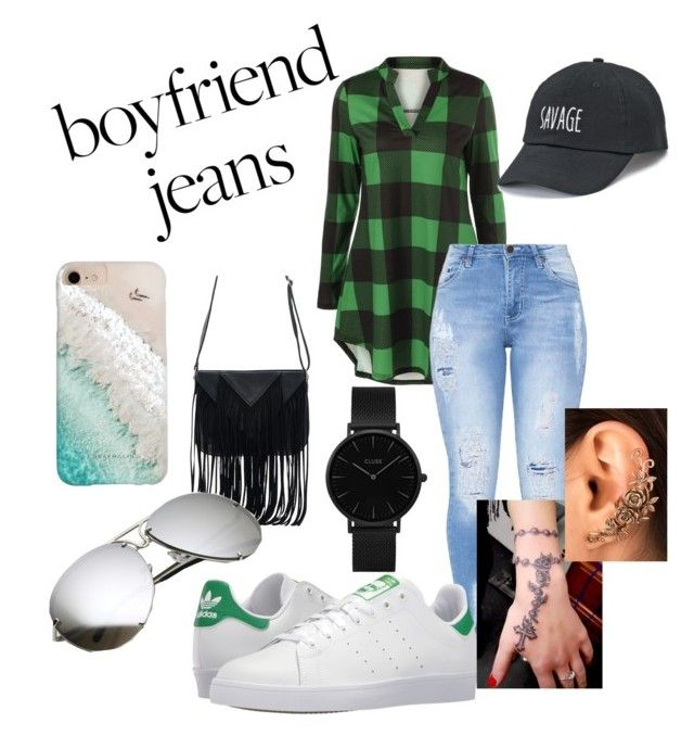 """""""#boyfriendjeans"""" by new2generation on Polyvore featuring adidas, WithChic, Gray Malin, SO and CLUSE"""