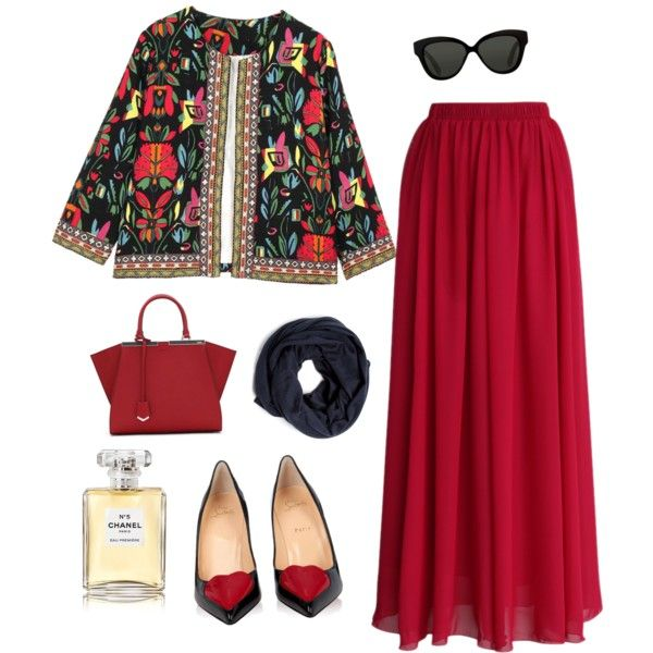 Ref by muslimco on Polyvore featuring polyvore, mode, style, Chicwish, Christian Louboutin, Fendi, Linda Farrow, Hermès and Chanel