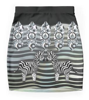 ZEBRA 84 CAMOUFLAGE. Mini Skirts