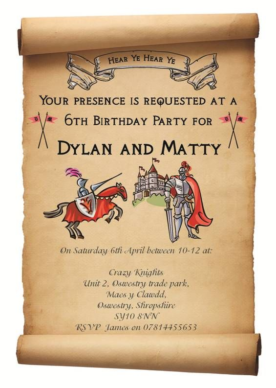 17 Best images about Knight – Knight Birthday Party Invitations