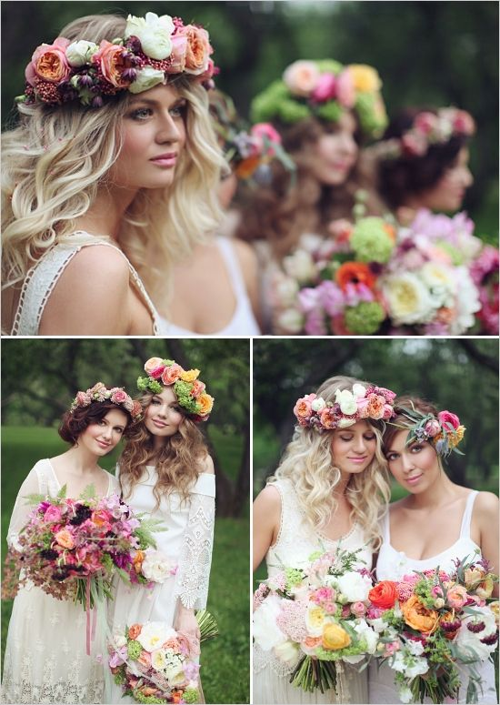 Pretty Hair And BIG Ol Flower Crowns Boho Chic Photo Shoot Designed By Latte Decor