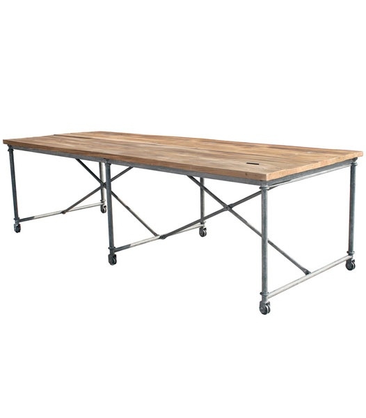 Louis xv loft reclaimed timber industrial dining table for Table de x 6
