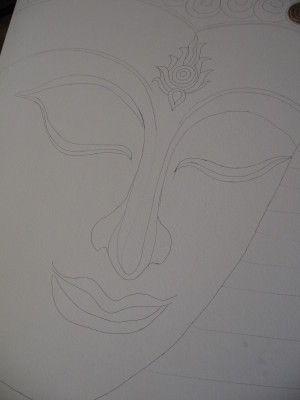Plaque décorative bouddha en carton (effet pierre) - meubles en carton marie krtonne