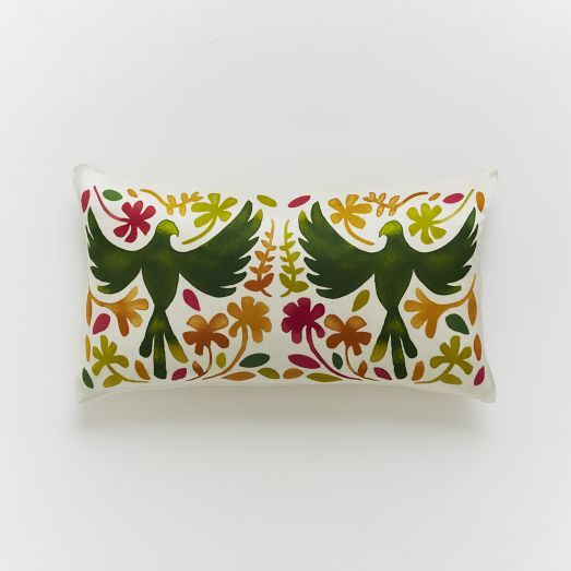 Paulina Reyes Silk Bird Pillow Cover - Green west elm Design: Jason & Nat - Green ...