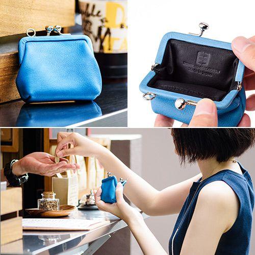 【池之端銀革店】Cramp×SUKUMO Leather 藍染めがま口財布 小