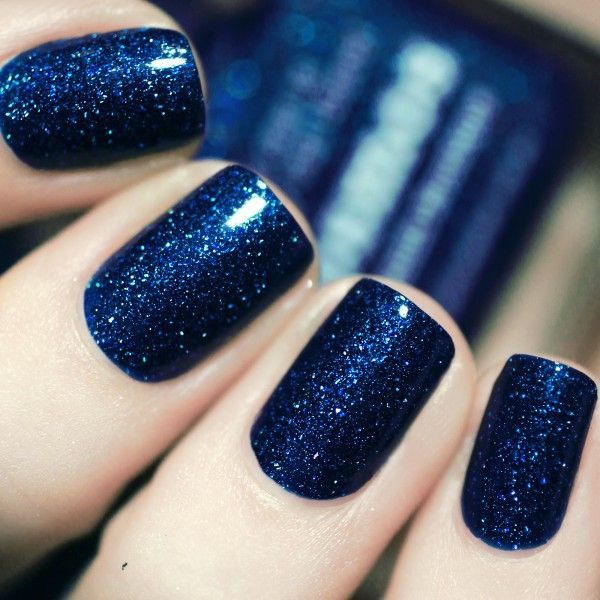 Navy blue and sparkly nails