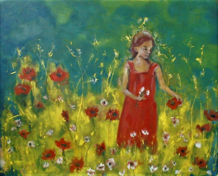 Girl in a garden Reminds me of the bright and beautiful Canola fields that surround Manitoba, where I live