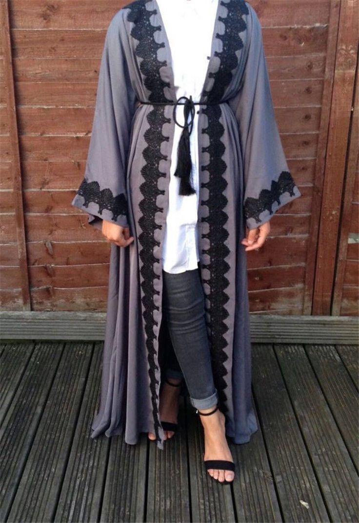 Charcoal Open Abaya