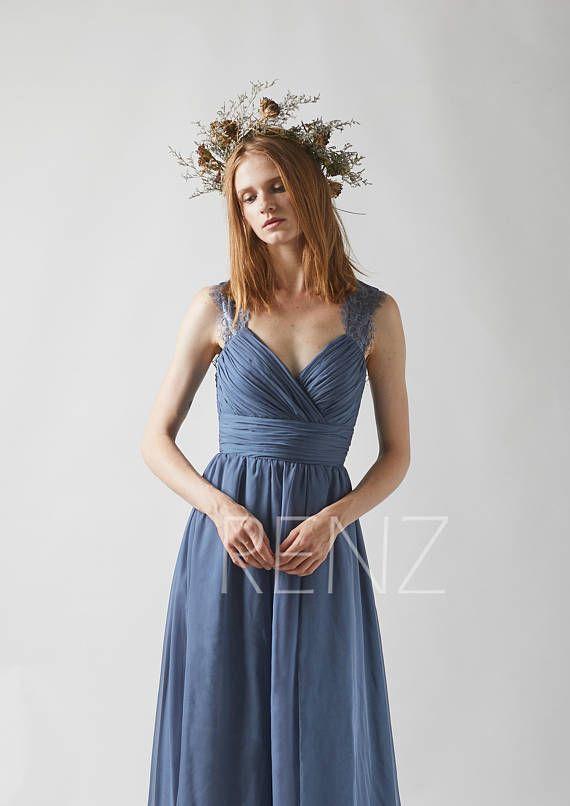 fbe7b431d29e3 Bridesmaid Dress Dark Steel Blue Chiffon Dress Wedding Dress Ruched V Neck  Maxi Dress Illusion Lace Open Back A-Line Evening Dress(L230B) | DeFreed  Wedding ...