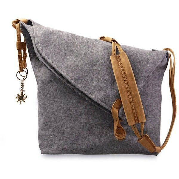 Amazon.com: Fansela(TM) Unisex Retro Canvas Hobo Crossbody Satchel Bag... ($39) ❤ liked on Polyvore featuring bags, hobo bags, cross body messenger bag, courier bag, grey crossbody bag and gray satchel handbag