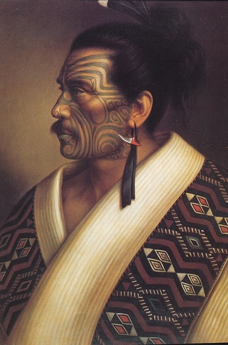 One of Lindauer's paintings of Kamariera Te Hau-Takiri Wharepapa rangatira of the north. Goldie also painted him.