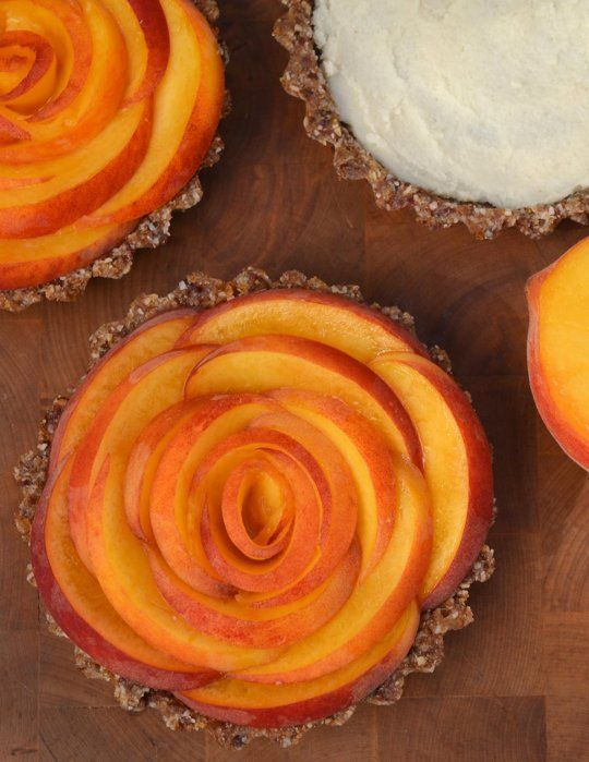 No-Bake Peach Tarts w/ Ginger Coconut. Pretty and healthy!