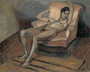 (John Lyman, Jeune homme indolent, vers 1922. Huile sur toile, 74 X 92 cm.