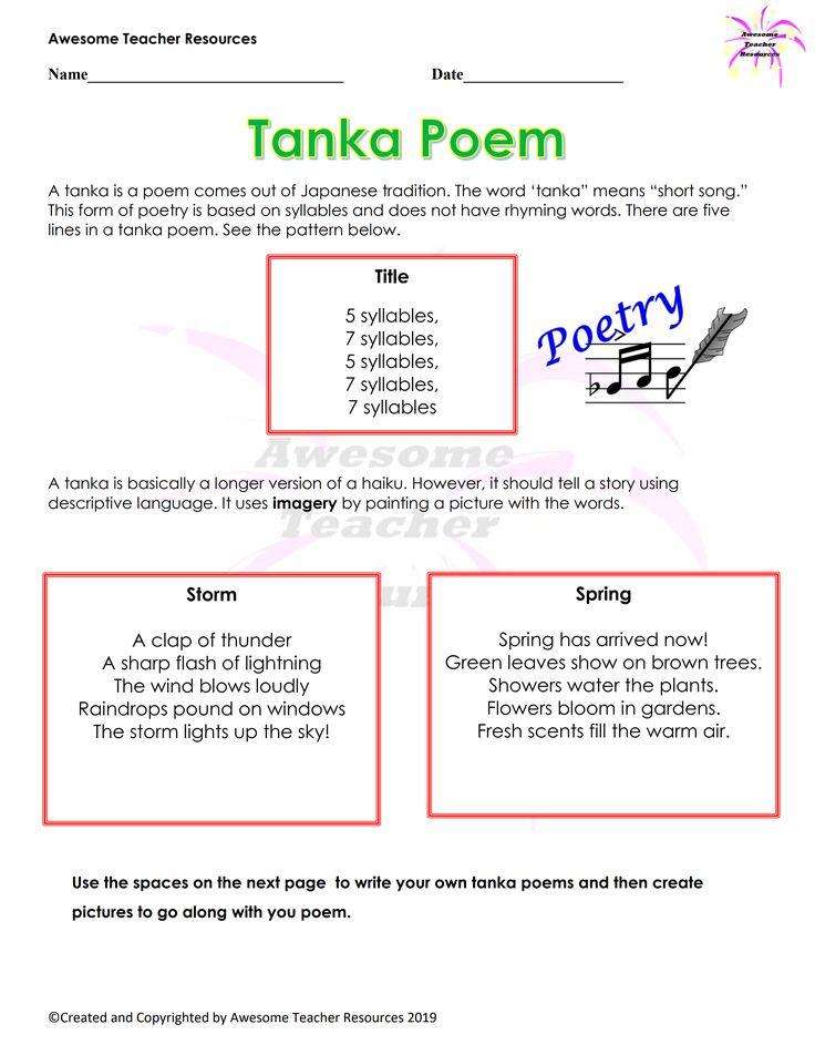 Tanka Poem Worksheet in 2020 Writing poems, Poems, Haiku