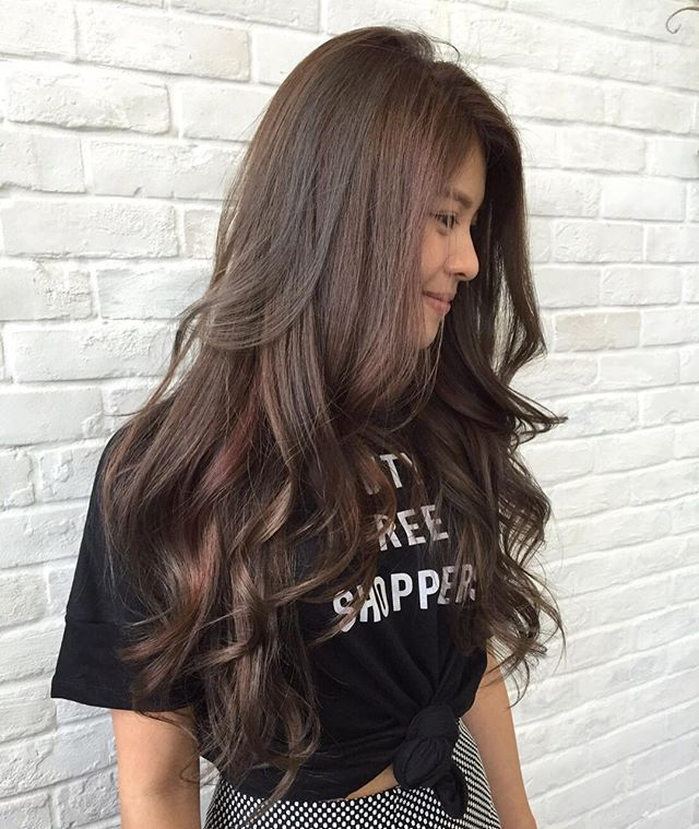 Natural Brown Base Hair Color With Subtle Ash And Rose