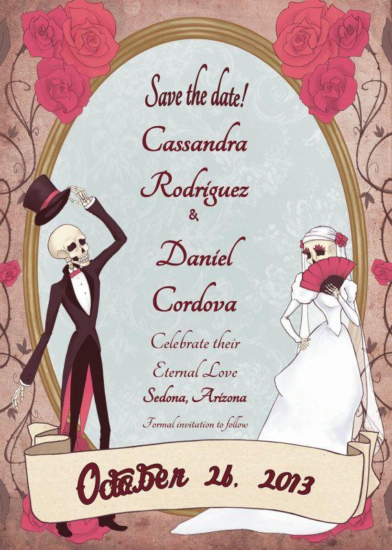 Save The Date  Dia De Los Muertos  Eternal Love Wedding Invitation