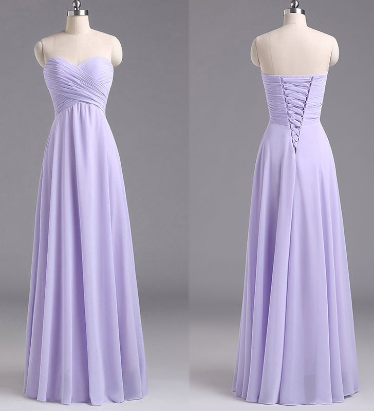 Sweetheart Lavender Bridesmaid Dresses, Chiffon Floor-length Bridesmaid Dress with Ruching Detail, Long Bridesmaid Dresses