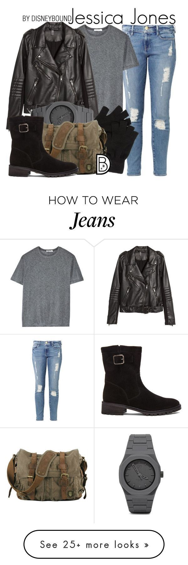 """Jessica Jones"" by leslieakay on Polyvore featuring Frame Denim, T By Alexander Wang, H&M, CC, Elyse Walker Los Angeles, women's clothing, women's fashion, women, female and woman 