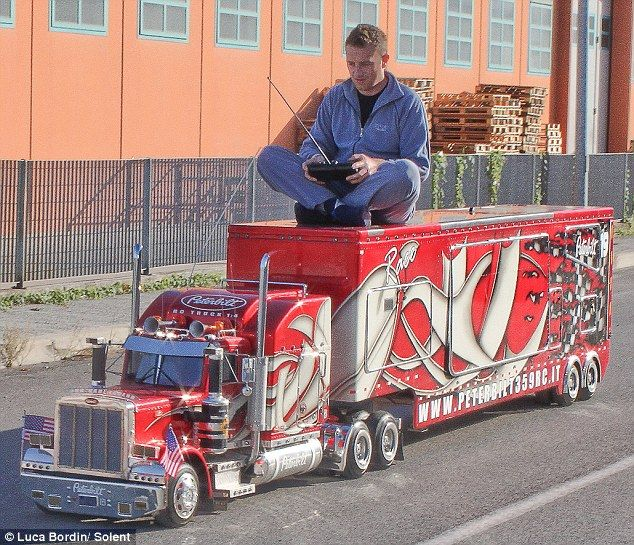 Realistic: Truck fan Luca Bordin spent 2,000 hours building this remote control model