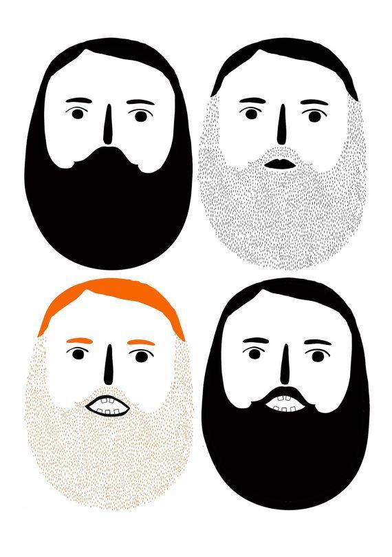 Beard Men Bearded Illustration Ginger by LauraGeeIllustration, £15.00