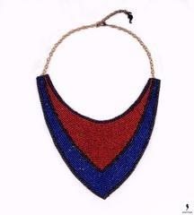 Массивное сине-красное ожерелье-воротник из бисера Corazon Delator