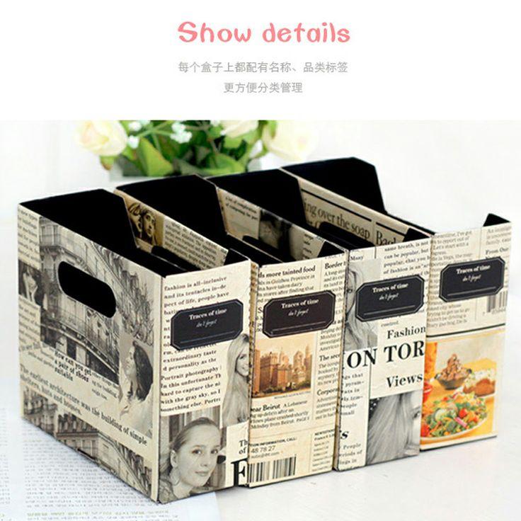 Vintage 2pcs/lot europa estilo de papel de escritorio de oficina de escritorio caja de almacenamiento organizador de maquillaje contenedores...