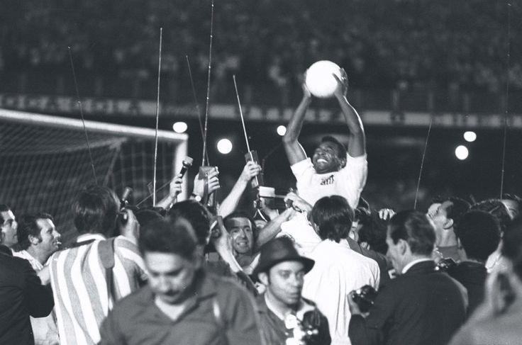 Pele after his 1000th goal, 1969.