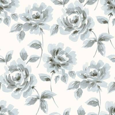 Hurmaava kukkatapetti, jossa siniharmaat ruusut kukkivat vaalealla pohjalla.