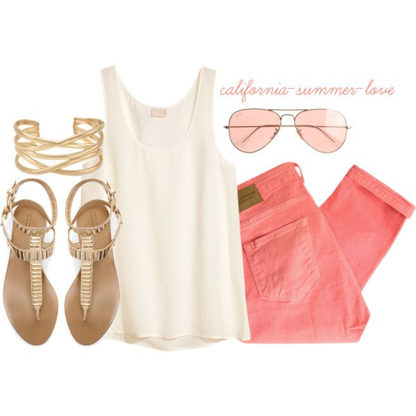 """""""Coral Spring Summer Outfit"""" by california-summer-love on Polyvore"""
