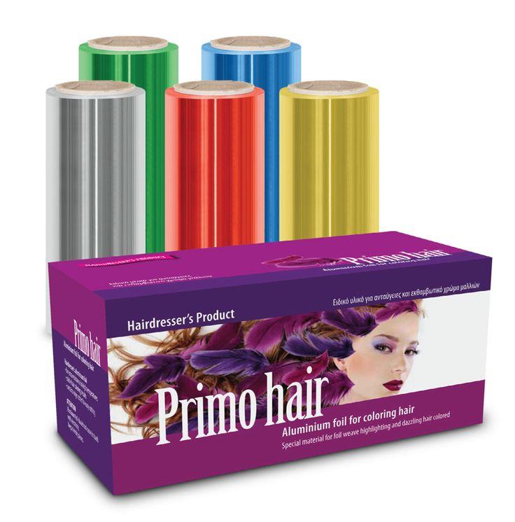 """Αλουμινοχαρτο κομμωτηρίου """"Primo Hair""""    Eιδικά επεξεργασμένο για ανταύγειες και βαφές μαλλιών σε διαστάσεις 12,5cm x 50/100cm χρώματα και πάχη14/15my σε ρολό που εγγυάται σταθερό αποτέλεσμα σε κάθε επεξεργασία μαλλιών."""