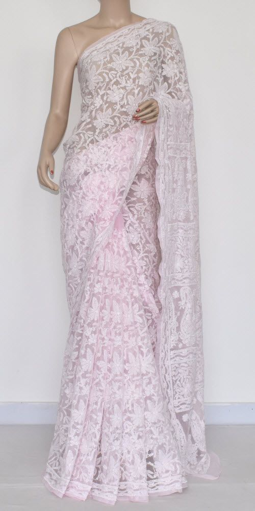 ac8b327828 Baby Pink Allover Hand Embroidered Lucknowi Chikankari Saree (With Blouse -  Georgette) MC250050