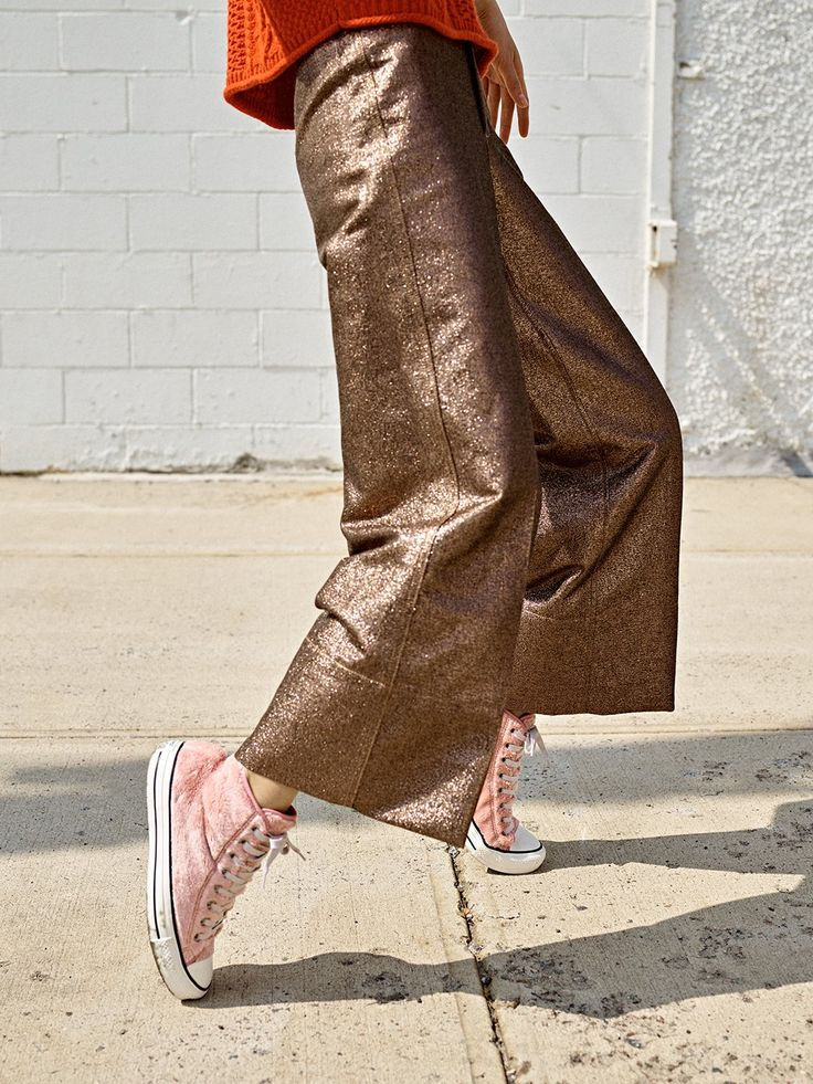 madewell langford wide-leg crop pants worn with the converse® chuck taylor sneakers.