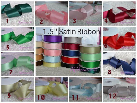 1 1/2 solid colors Satin ribbon  1 yard or 5 yard by Ribbonaira, $1.00