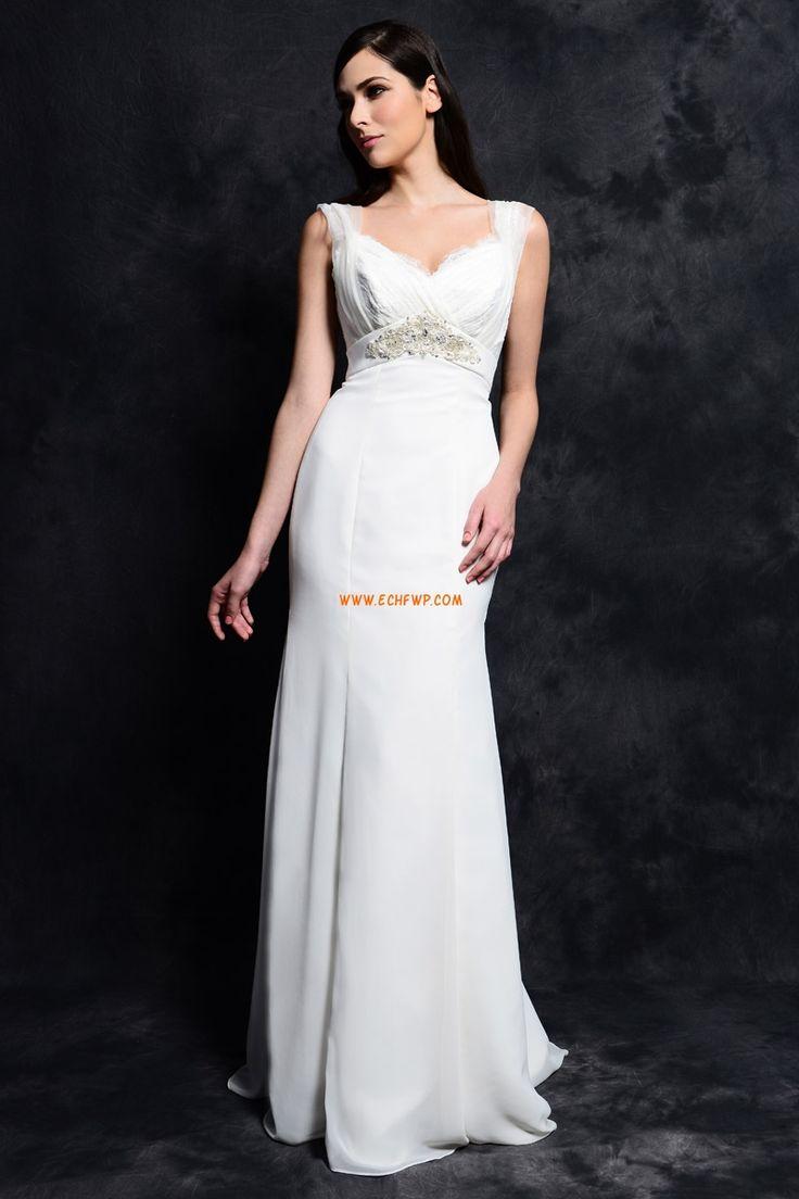 Šifón Bez rukávů Nášivky Levné svatební šaty