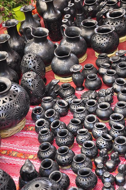 The highly sought-after black pottery from San Bertolo Coyotepec, Oaxaca, Mexico