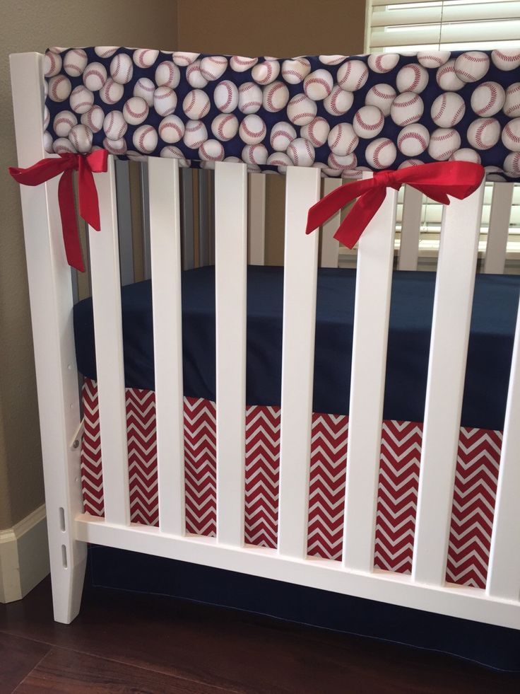Sports Baseball Crib BeddingBoy Baby BeddingCrib SetRed And Navy