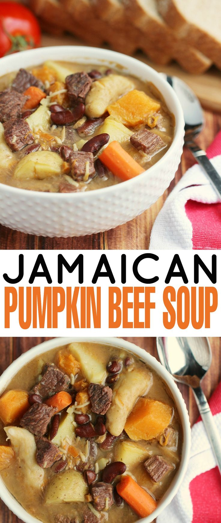 This Jamaican Pumpkin Beef Soup is filled with dumplings, Jamaican Pumpkin & Beef. Perfect for a delicious and filling family dinner!