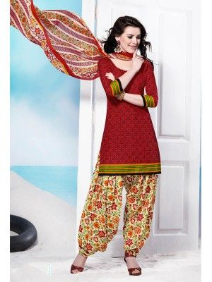 Maroon Cream Cotton Pretty Patiala Salwar Kameez  parisworld.in